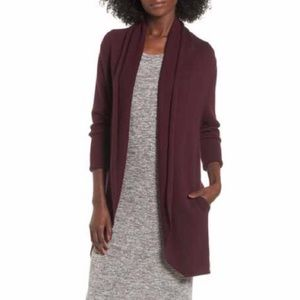 Leith Easy Circle Cardigan in Burgundy Stem